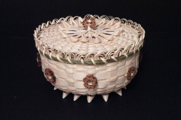 Traditional Potawatomi Black Ash Basket ~ Nancy Krogmann of Whitepigeon Baskets